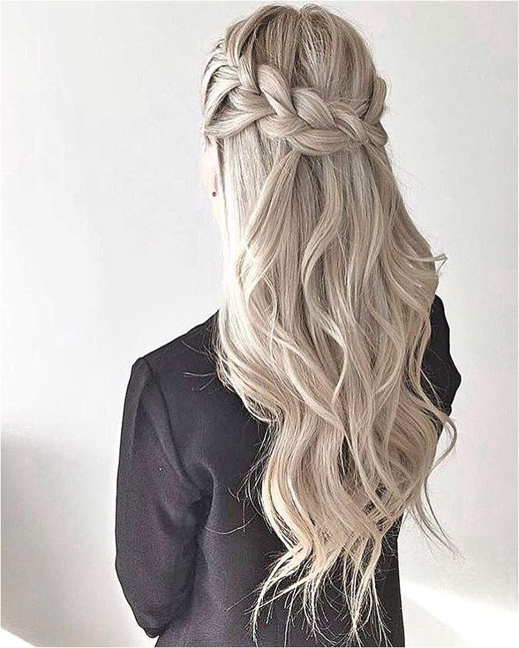thick crown braid waves half up half down style promhair Hair Pinterest