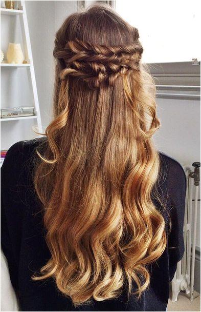 Wavy omber half up half down fishtail braids