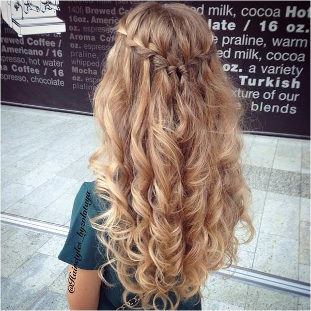 Waterfall Braid Half Updo Curly Hair 31 Half Up Half Down Prom Hairstyles from home ing hairstyles