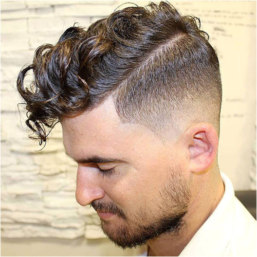 Curly Fringe with High Fade and Beard