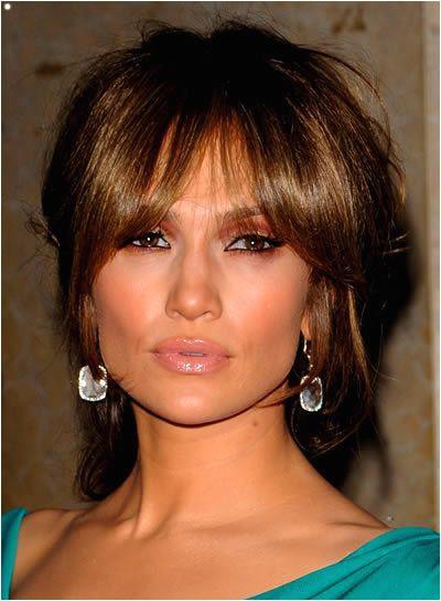 Jennifer Lopez Brunette Updo with Bangs