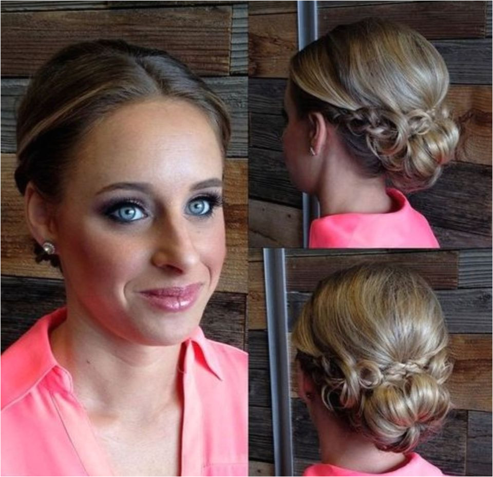 low bun with a braid updo for fine hair