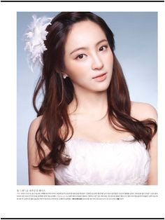 Natural long hair styling and peach color cheek and orange lip make up Korean