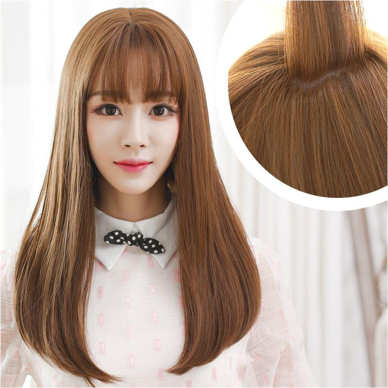 Korean Air Bangs Wig Female Long Hair Pear Head Volume Within Thin Bangs Hair Lifelike Big Scalp Silk Top Full Lace Wigs Lace Front Human Hair Wigs From
