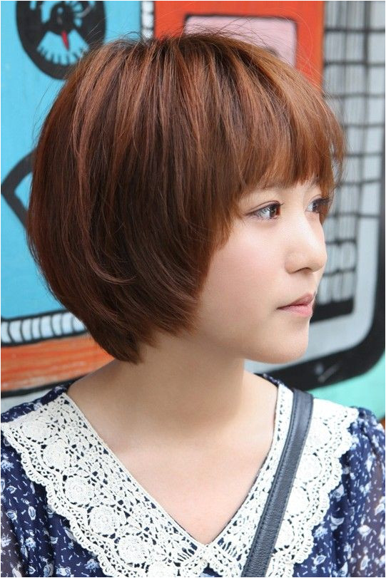 Sweet Layered Short Korean Hairstyle Side View of Cute Bob Cut