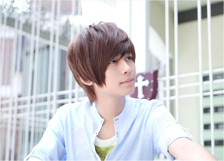 Handsome boys wig New Korean short Natural 3 color Men s hair Cosplay wigs men student Hair wigs Free Shipping