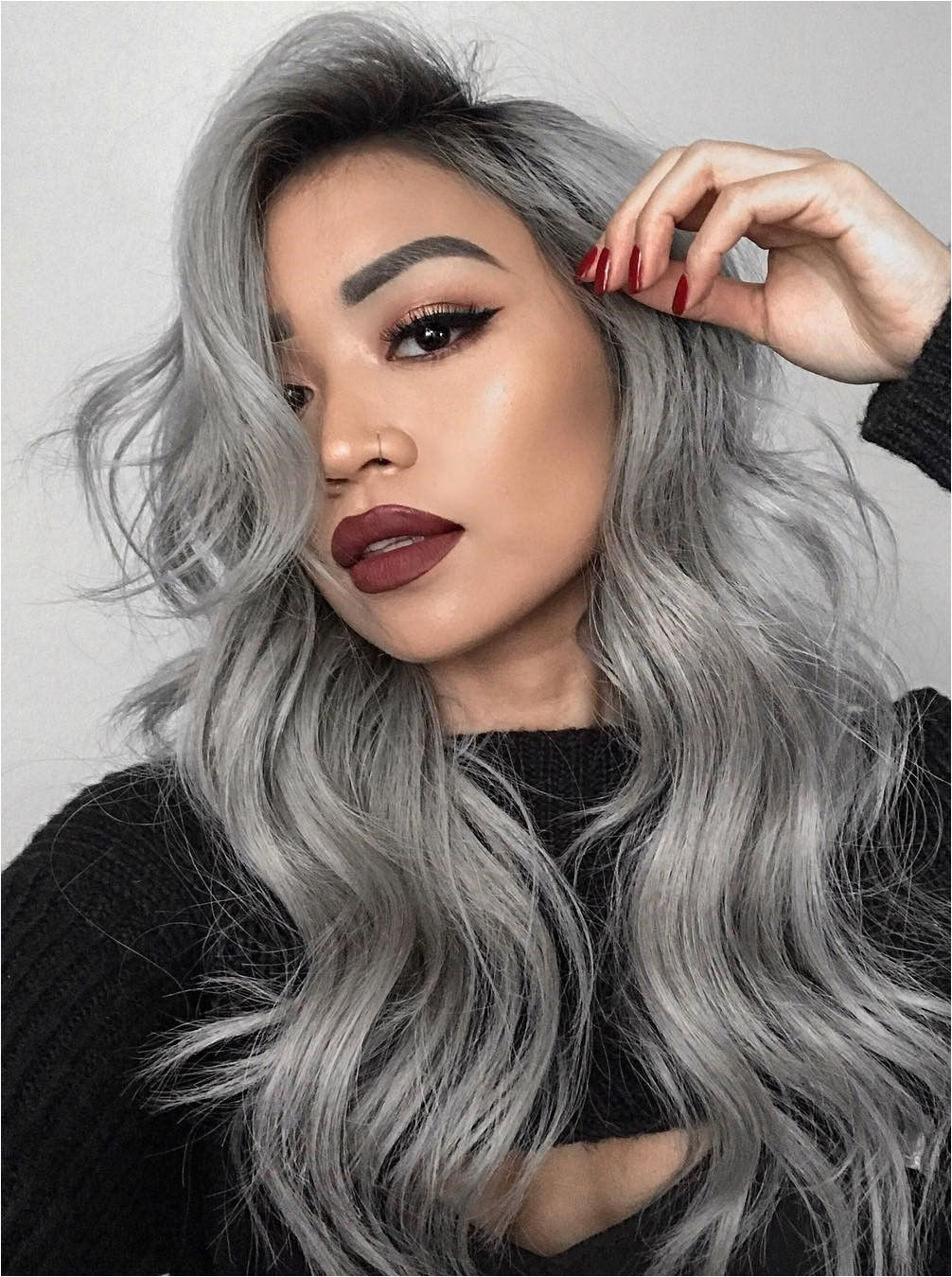 13 Grey Hair Color Ideas to Try Pinterest Unique Grey Hair with Bangs Grey Hair with