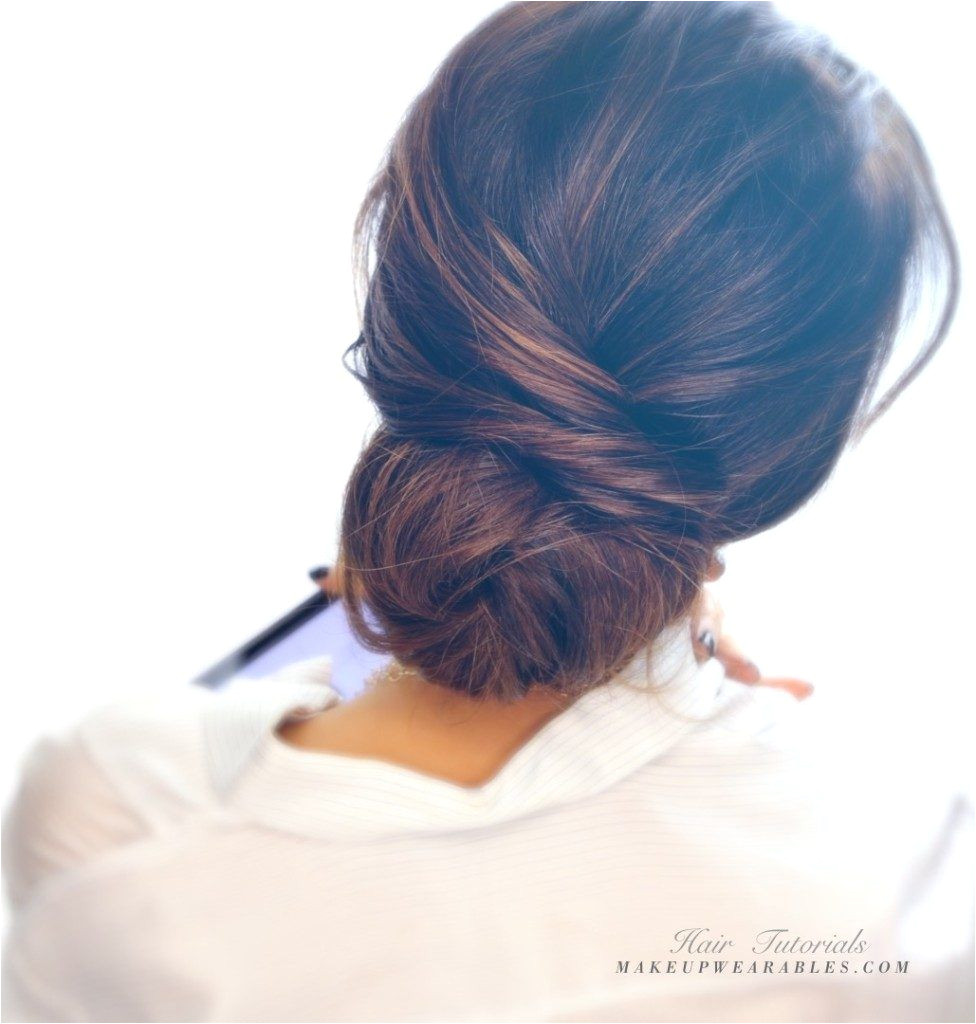 Easy messy bun updo hairstyle for medium long hair tutorial 976x1024
