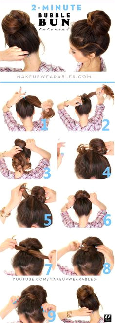 Easy 2 Minute Hairstyles For Long Hair hairstyles hairstylesforlonghair minute Easy Bun Hairstyles