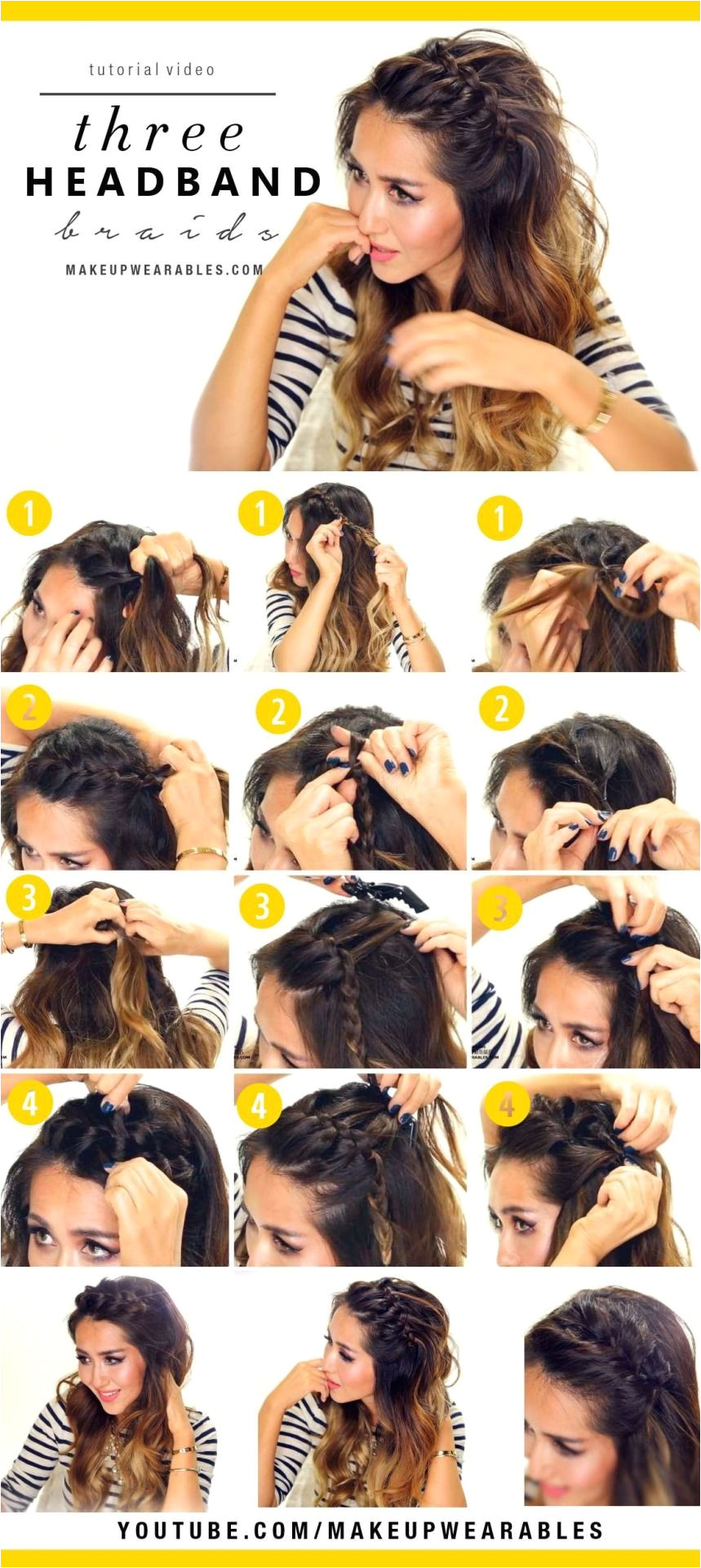 "makeupwearableshairstyles "" How to 3 Easy Headband Braid Hairstyles Tutorial Cute braided half up half down updos for school work everyday """