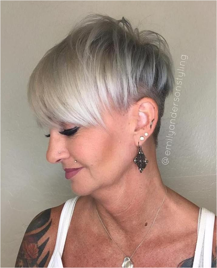 Gray Pixie Undercut For Mature Women