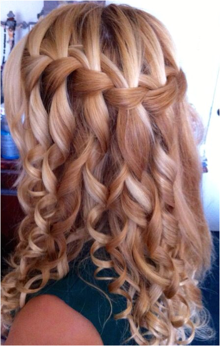 Pretty Hairstyles for A School Dance Waterfall Braid for Curly Hair