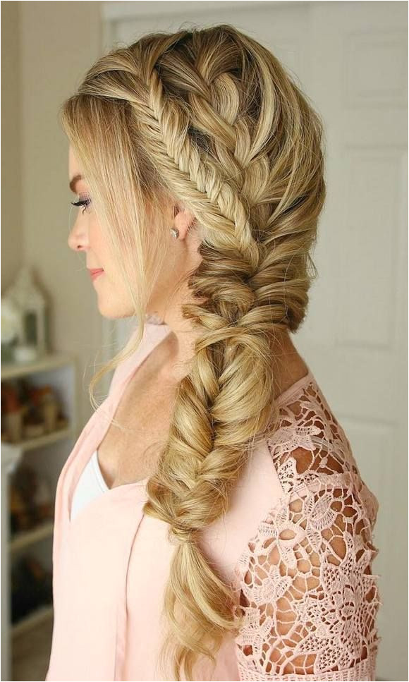 Long Hair Style Side Braid Fishtail Braid Blonde Hair Hairstyle Pinterest