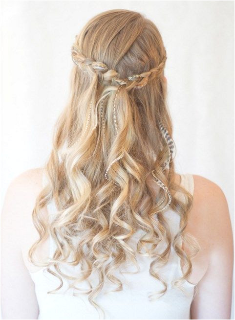 Prom Hairstyles with Brids for Long Curly Hair Half Up Half Down in Light Blonde Color Back View