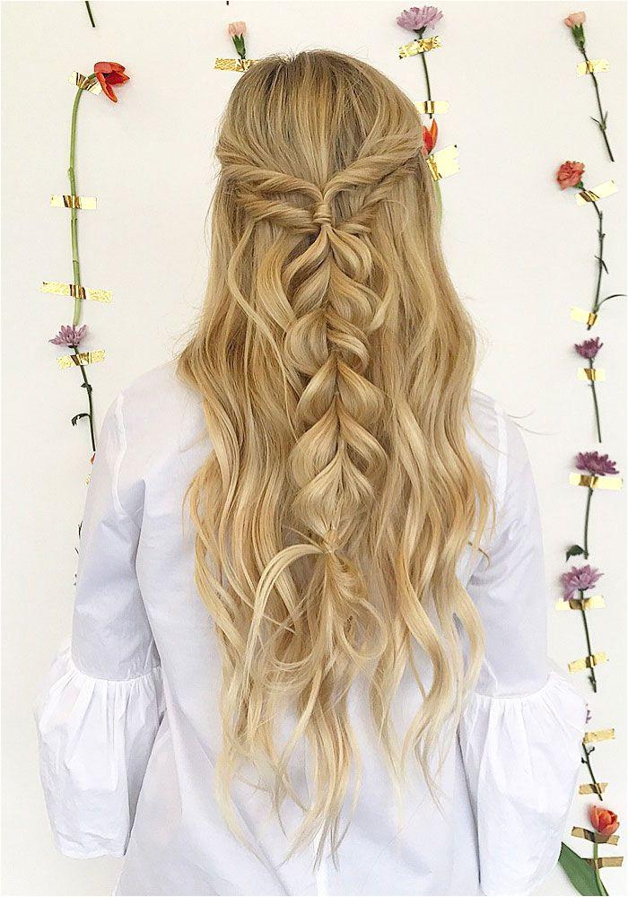 Half up half down hairstyle promhair weddinghair bridesmaidhair hairstyle hairideas knottedcrown hairstyles
