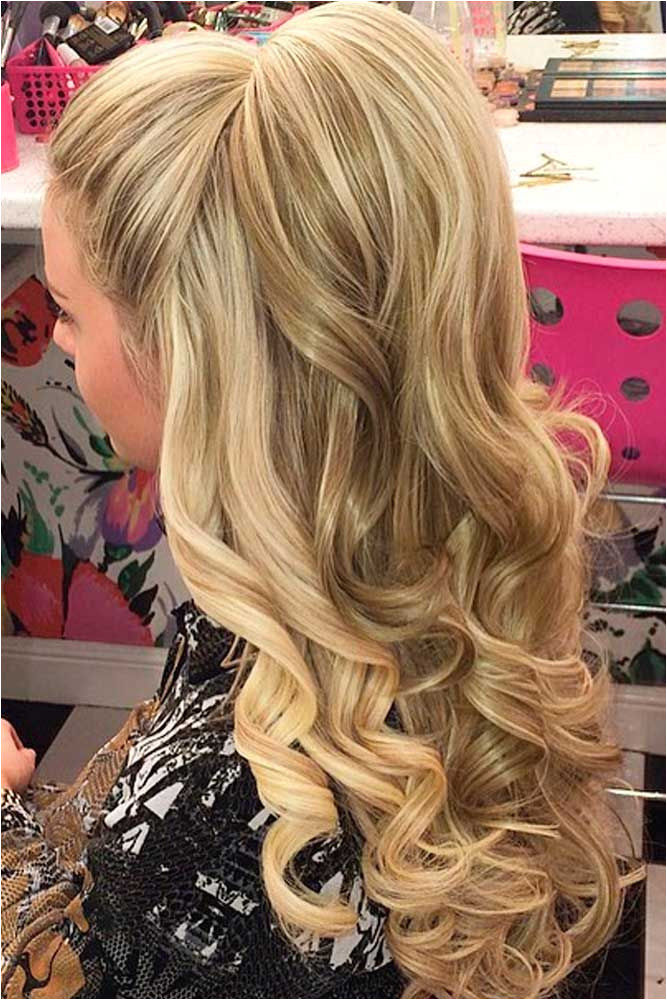 Prom hairstyles for long hair half up half down is a great idea that you should use to create prom hairstyles 3