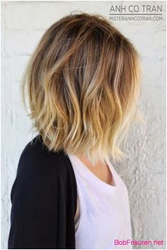 Dark blonde to wheaty blonde ombre on lightly waved medium bob haircut Credit This long bob is a great choice for fine hair and medium hair