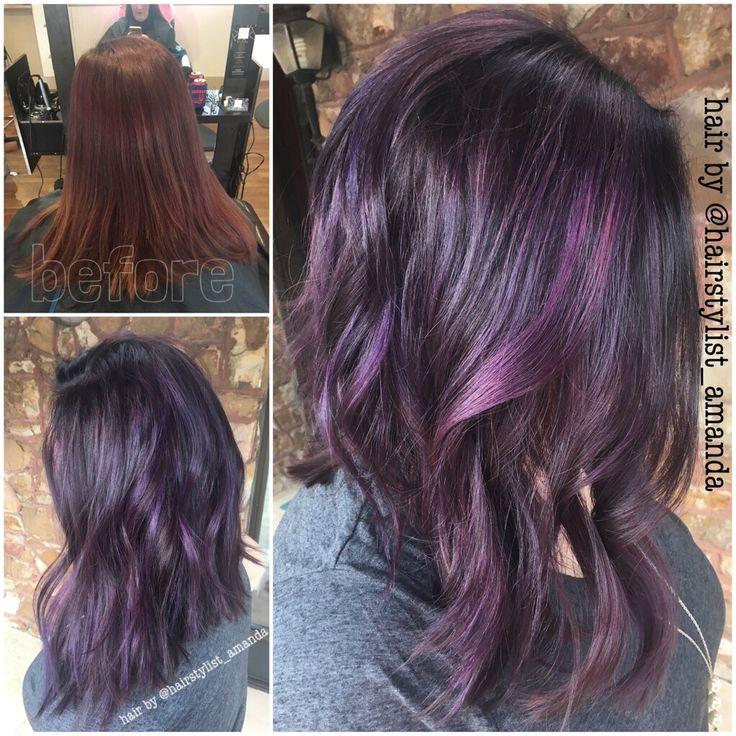 Image result for purple streaks in dark brown hair