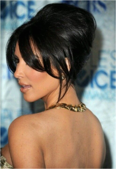 Kim Kardashian red carpet updo hairstyle