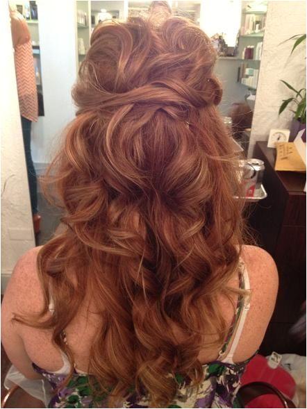 Red Half Up Hairstyles Love Wedding Hairstyle Long Hair Messy Curls Boho Curls Loose