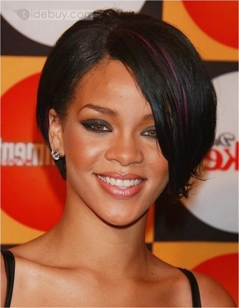 Rihanna Hairstyles Haircut Custom Super Star Rihanna Hairstyles Short Straight 8 Inches Black