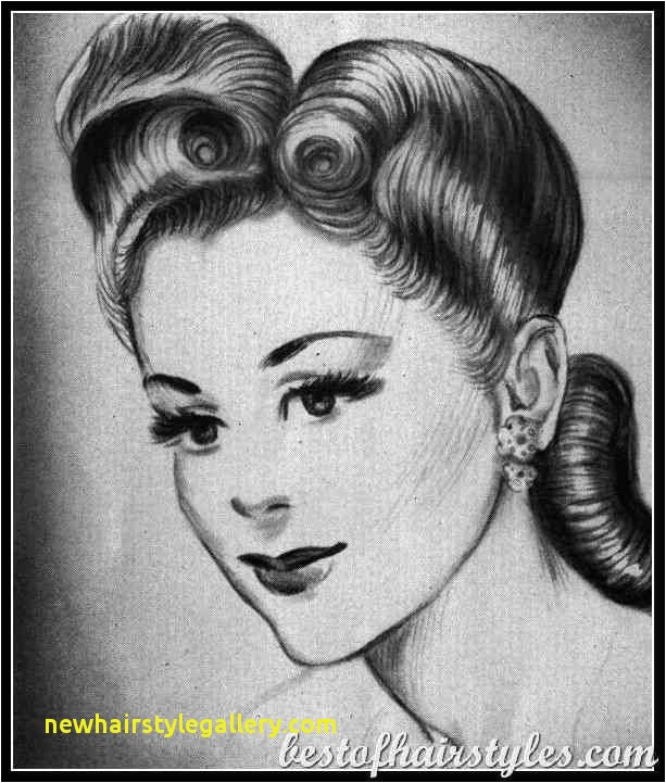 1940S La s Hairstyles Vintage Hairstyles men s hairstyle Inspirational Short Hairstyles Drawing selected