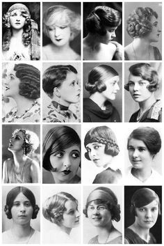 Hairstyles from the 1920 s I want the first ones left from right from the first and third rows