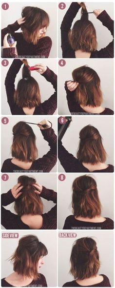 Poof on short bob hairstyle tutorial How To Style Short Hair Diy Short Hair