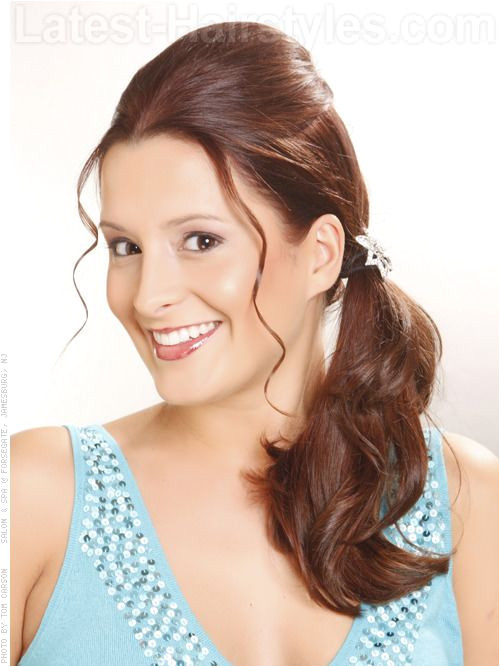 Hair Style 60 s Updo Fun Ponytail with Wispy Front Pieces