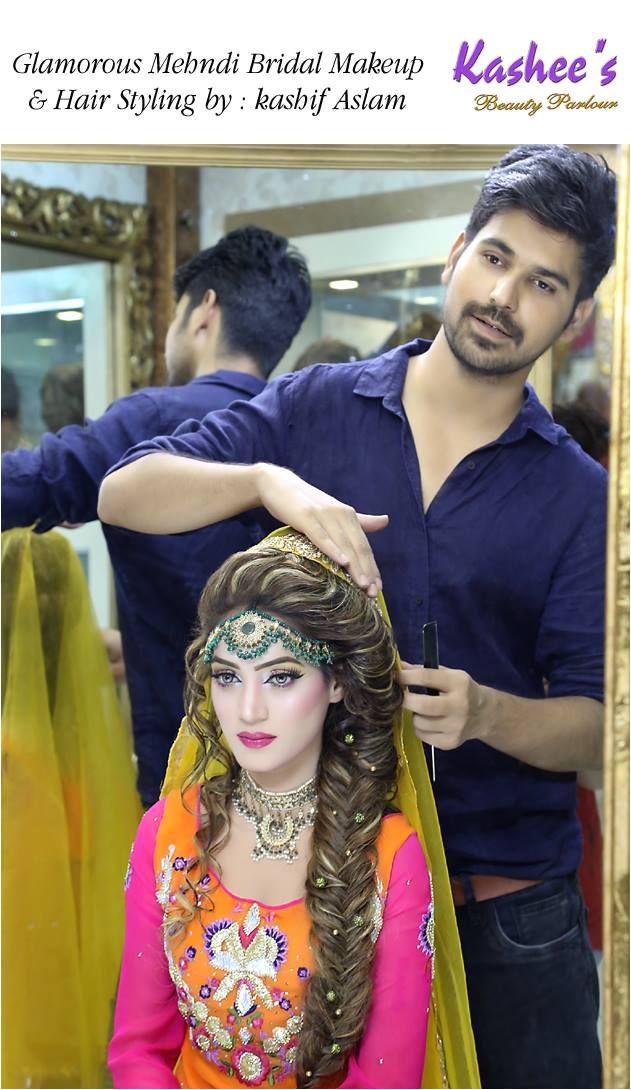 Glamorous mehndi bridal makeup by kashif aslam