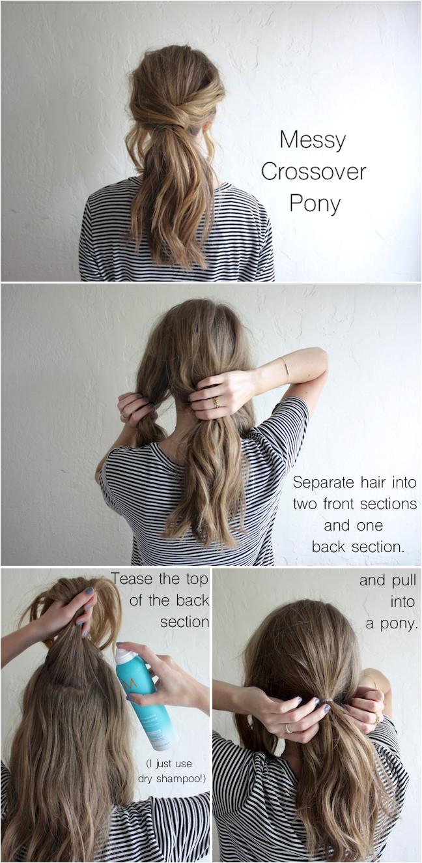 hair tutorial messy crossover pony