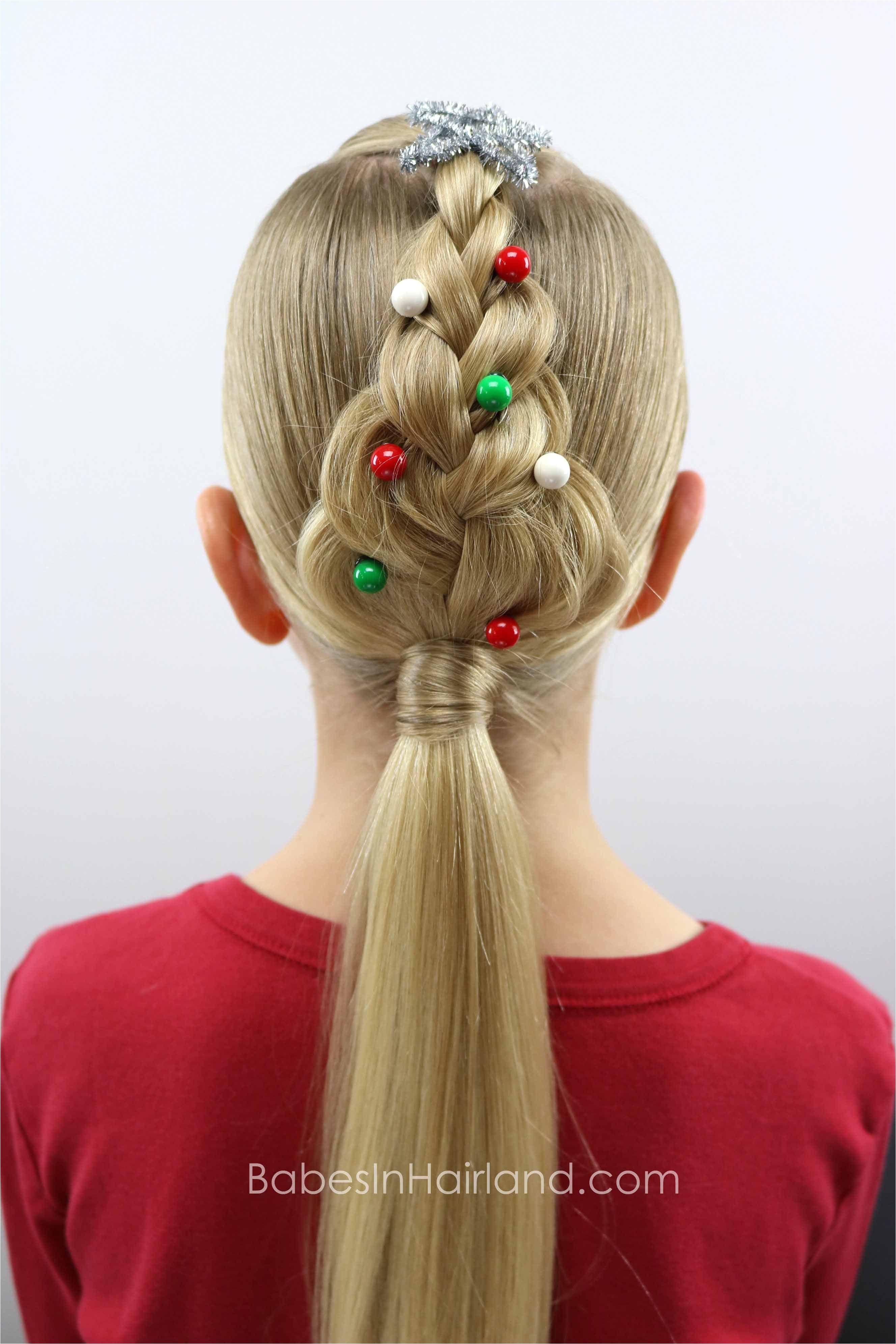 For an easy Christmas hairstyle try this cute Christmas Tree Braid from BabesInHairland hair braids hairstyle easy hairstyle