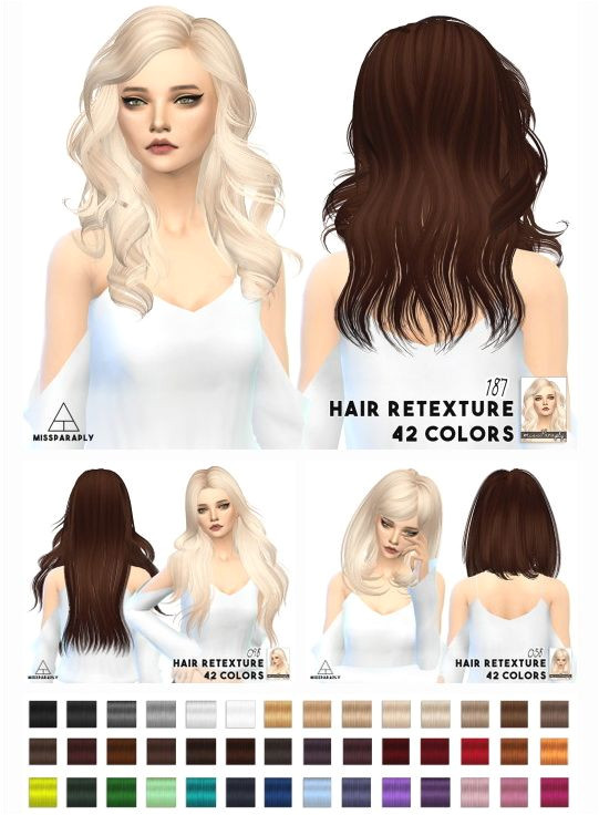 Miss Paraply Hair retextures Mixed bag of alpha hair • Sims 4 Downloads