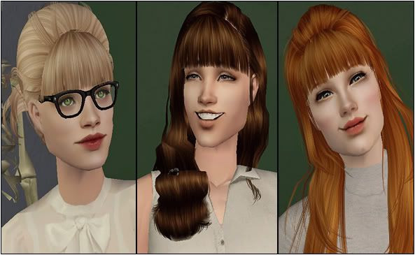 Sims 2 Add a fringe bangs to any hairstyle in all of Pooklet s colours