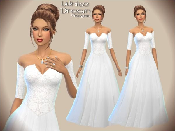 The Sims Resource White Dream dress by Paogae • Sims 4 Downloads