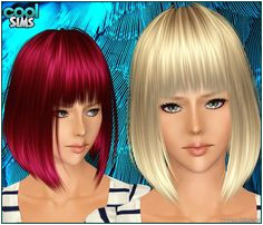 Asymmetrical bob with bangs hairstyle 98 by Cool Sims for Sims 3 Sims Hairs