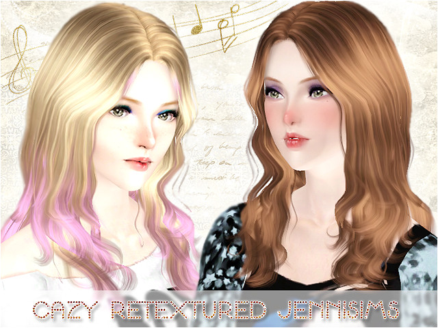 Cazy Retextured Jennisims Curly Natural Hair for The Sims 3 Female