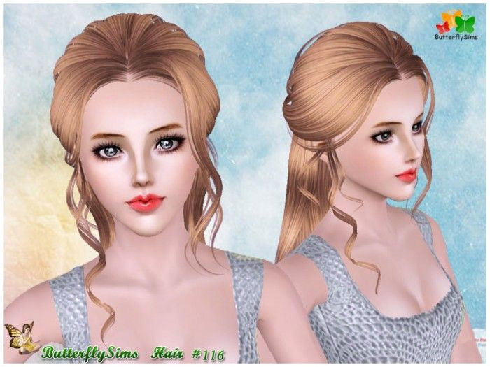 B fly back braided hair 116 by YOYO Sims 3 Downloads CC Caboodle