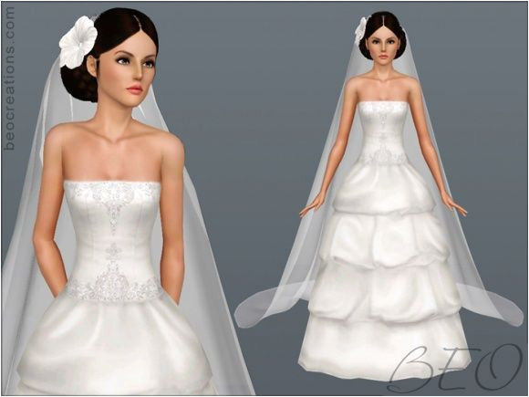 Bridal long veil and hair flowers for wedding Sims 3 free at BEO Creations Sims 3 Finds