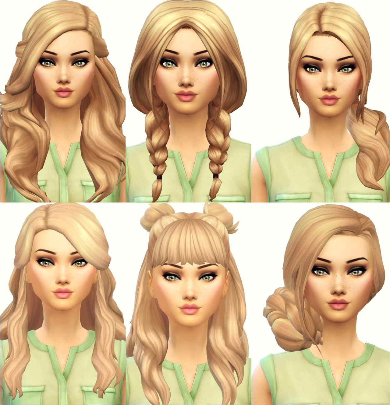 Current Favourite Maxis Match Hair From left to right then down and left to right again Hair 1 X by Wildspit Hair 2 X by PastelSims Hair 3 X by