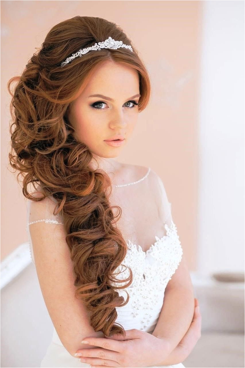 long curly wedding hairstyles with tiara