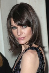 Copy actress Mila Jovovich with a layered bob and side fringe A slight asymmetric cut