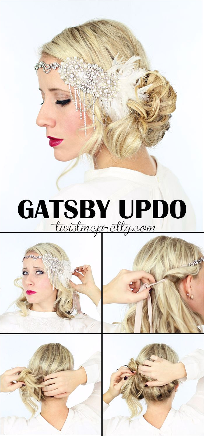 The perfect Gatsby Hairstyles for your 1920 flapper girl costume e checkout the vintage updo and watch the easy to follow video tutorial from