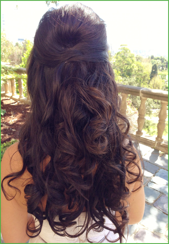 Wedding hair long hair curly half up half down