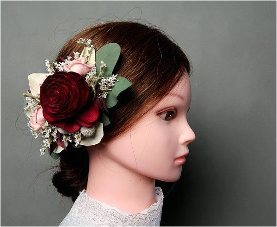 Burgundy blush boho wedding hair clip Bridal hairpiece Sola rose Flower eucalyptus greenery pink dried flowers