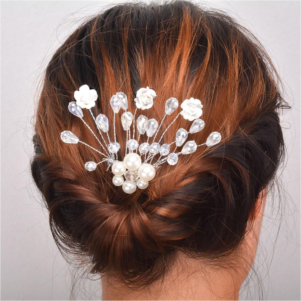 Women girl Hairpin Bridal Wedding Barrette Flower Rhinestones Crystals Pearl Hairpin Hair Clip Jewelry birthday t p dropship Yesterday s price US