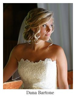 Romantic bridal hair low updo curls with veil hairstyle by Dana Bartone