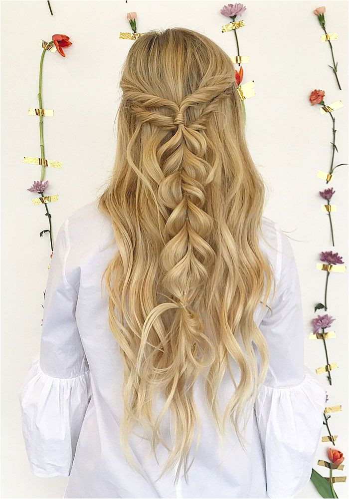Half up half down hairstyle promhair weddinghair bridesmaidhair hairstyle hairideas knottedcrown hairstyles