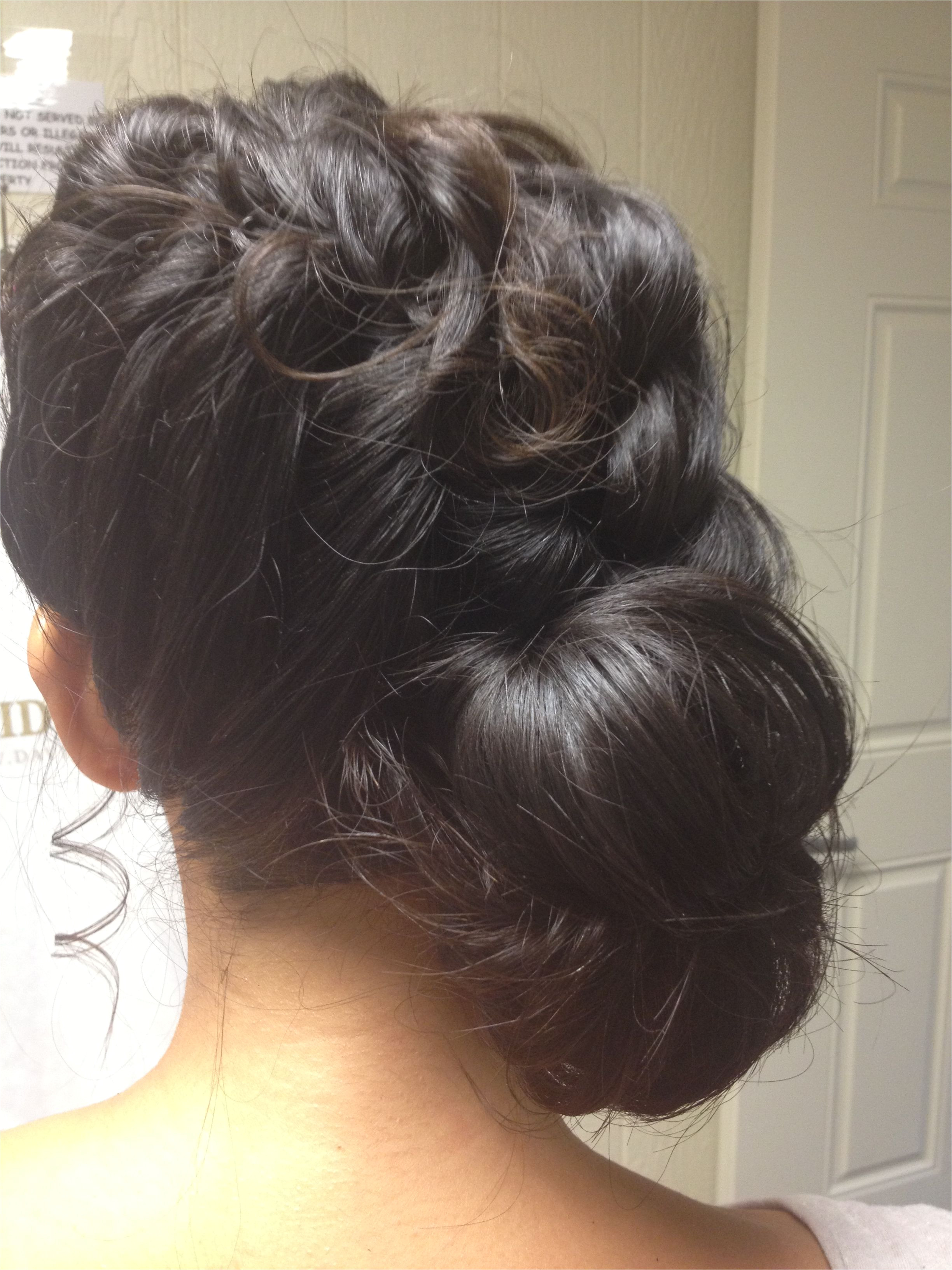 My bridesmaid hair A braid down the side into a low side bun with