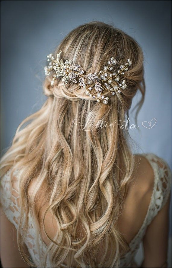 up half down wedding hairstyle via LottieDaDesigns Deer Pearl Flowers cascading braid hairstyle 50 Best Bridal Hairstyles Without Veil